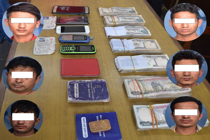 Police display seized cash, citizenship certificates, passport and various mobile sets from the suspects. Courtesy: MCD