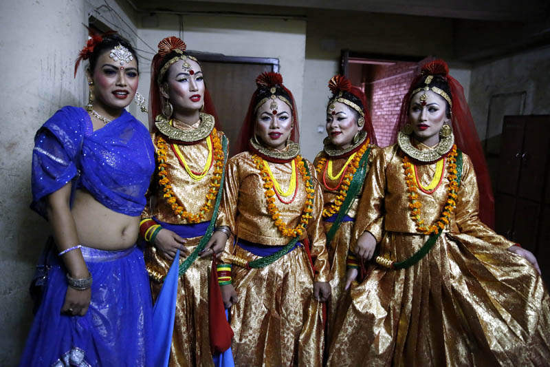 Nepali transgenders dressed in traditional attire pose for a picture before a dance competition, organised by the Blue Diamond Society, in Kathmandu, on Sunday, June 25, 2017. Photo: Skanda Gautam