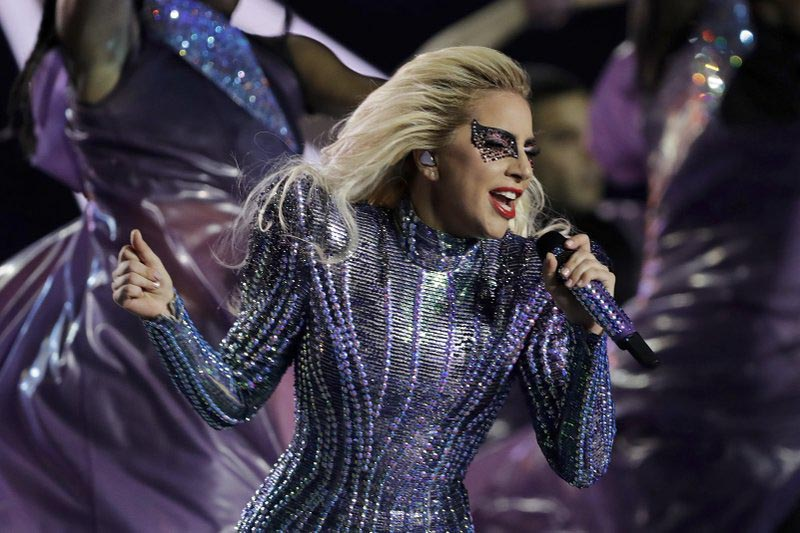 Singer Lady Gaga performs during the halftime show of the NFL Super Bowl 51 football game between the New England Patriots and the Atlanta Falcons, in Houston, on February 5, 2017. Photo: AP/ File