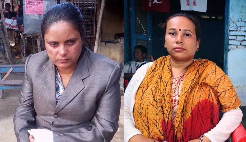 This combo photo shows two former Maoist combatants Lata Neupane (left), Tara Ojha Rajbanshi fielded by CPN-Maoist Centre, Morang for the top posts of two local levels in the district, on Thursday, June 15, 2017. Photo: THT/FIle