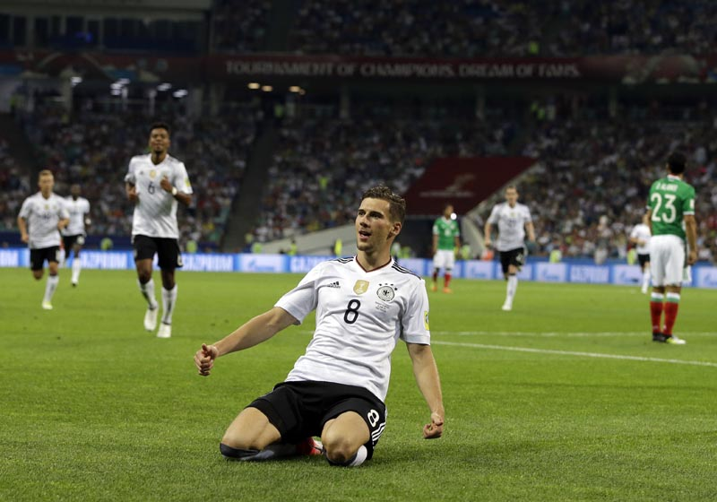 Germany's Leon Goretzka celebrates after scoring the opening goal during the Confederations Cup, semifinal soccer match between Germany and Mexico, at the Fisht Stadium in Sochi, Russia, on  Thursday, June 29, 2017. Photo: AP