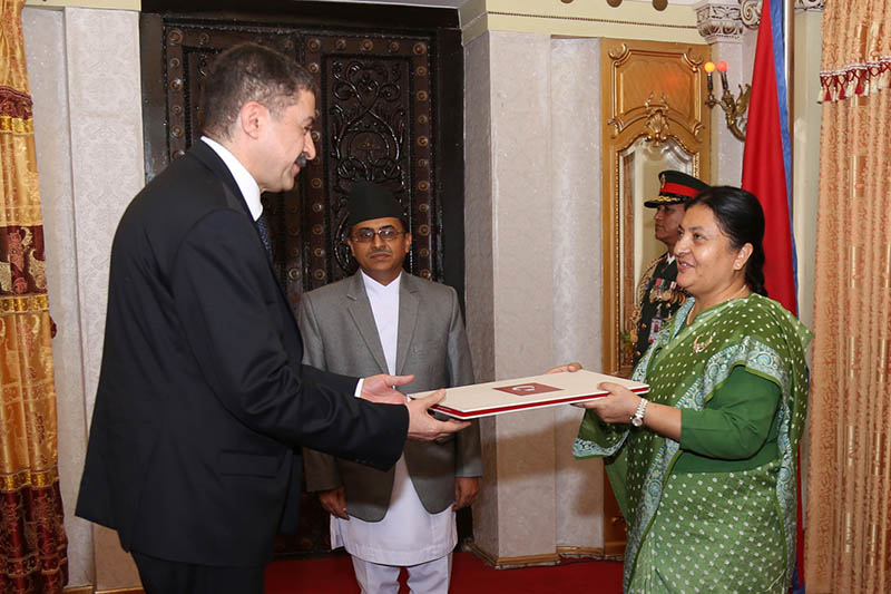Mococcan ambassador to Nepal submits his letter of credence to President Bidya Devi Bhandari at Sheetal Niwas in Kathmandu, on Monday, June 5, 2017. Photo: RSS
