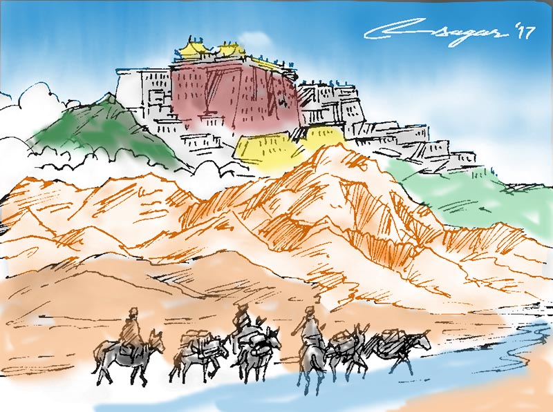 Lhasa trade. Illustration: Ratna Sagar Shrestha