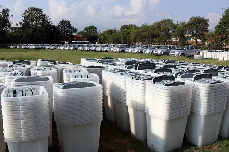 Ballot boxes acquired from China and vehicles donated by India for the second round of local polls are seen at the Election Commission Office's premises in Kathmandu, on Sunday, June 11, 2017. Photo: RSS
