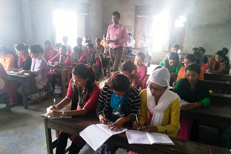 Government job aspirants attend a Lok-Sewa class in Kanchanpur district, on Friday, June 2, 2017. Photo: RSS