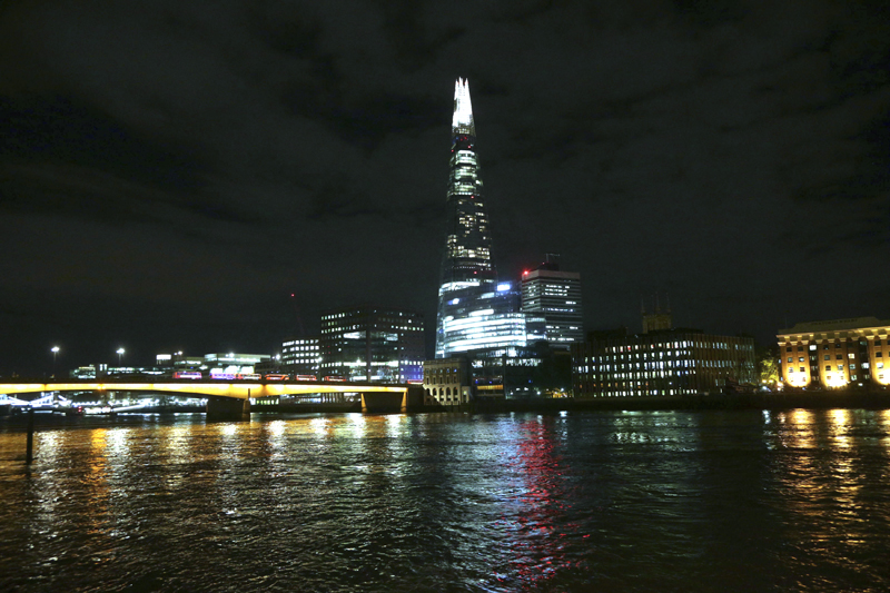 London Bridge, left, and The Shard are seen following an attack in central London, Saturday, June 3, 2017. Photo: AP