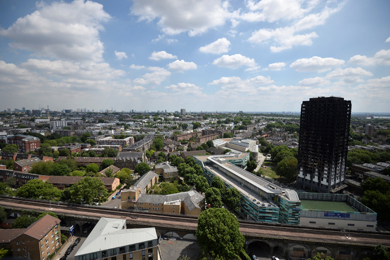 The burnt out shell of the Grenfell apartment tower block is seen in North Kensington, London, Britain, June 17, 2017. Photo: Reuters