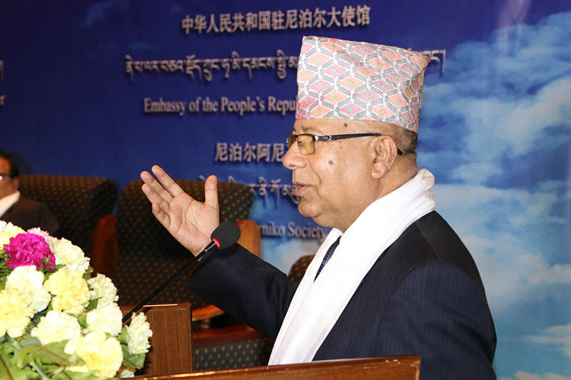 UML leader Madhav Kumar Nepal speaks at a programme organised in the Capital, on Tuesday, June 6, 2017. Photo: RSS