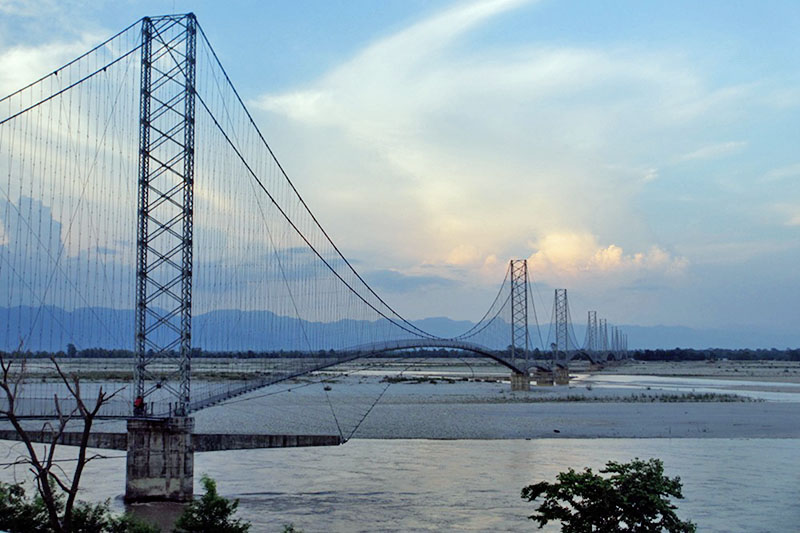 A suspension bridge over the Mahakali River in Kanchanpur district, on Tuesday, June 27, 2017. Photo: RSS