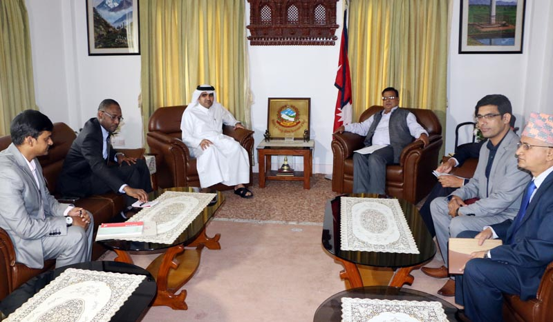 Deputy Prime Minister and Minister for Foreign Affairs Krishna Bahadur Mahara and Qatari Ambassador to Nepal Ahmed Jassim Mohamed Ali al-Hamar at the Foreign Ministry on Friday, June 30, 2017. Photo: RSS