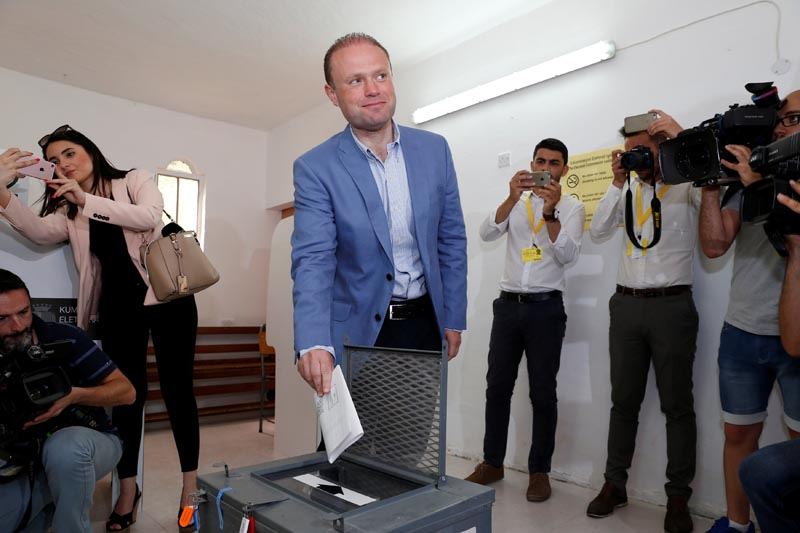 Prime Minister and Labour Party leader Joseph Muscat casts his vote during Malta's snap general elections in his home town of Burmarrad, Malta, on June 3, 2017. Photo: Reuters