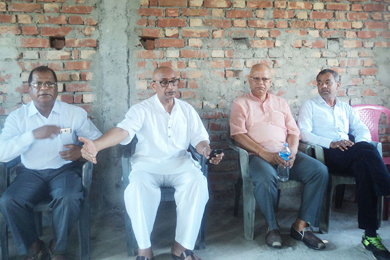 Minister for Culture, Tourism and Civil Aviation Jitendra Dev (second from left) speaking at a press meet organised in Rajbiraj, Saptari, on Thursday, June 1, 2017. Photo: THT