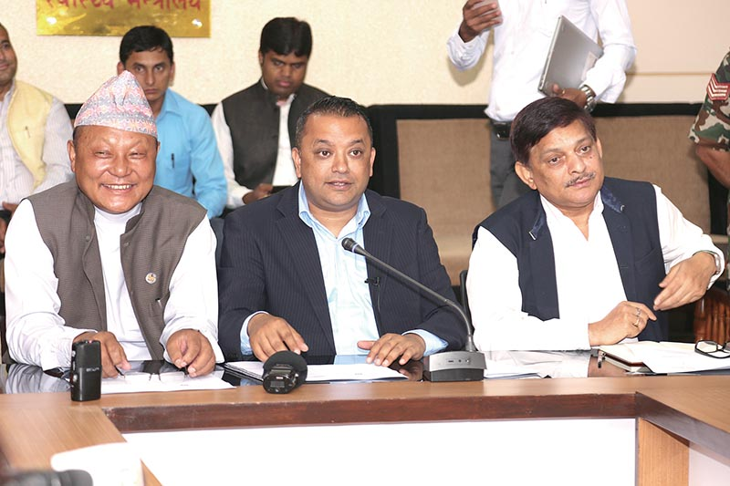 Minister for Health Gagan Kumar Thapa addressing a press conference, in Kathmandu, on Sunday, June 5, 2017. Photo: RSS