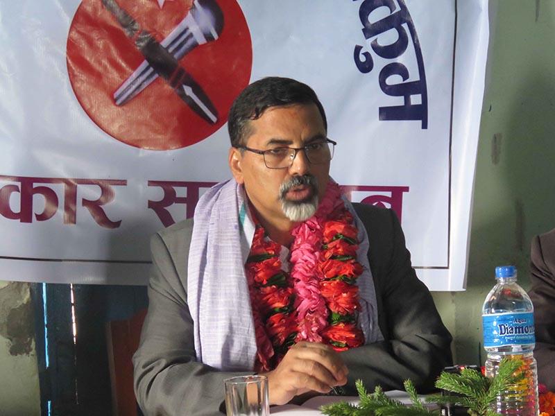 Minister for Home Affairs Janardan Sharma speaking at a press meet organised by Press Centre Nepal, in Mushikot, Khalanga, on Sunday, June 18, 2017. Photo: THT
