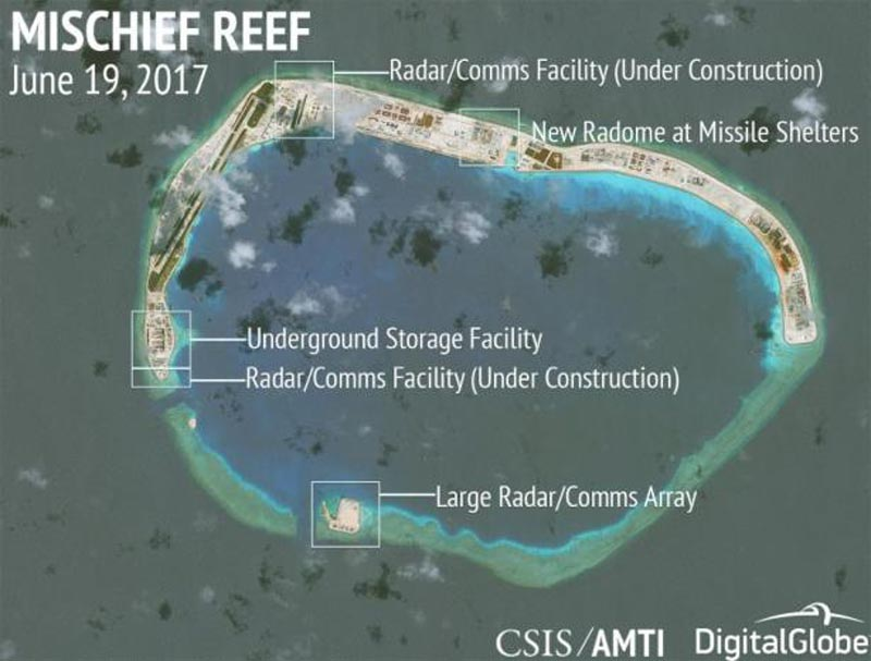 Construction is shown on Mischief Reef, in the Spratly Islands, the disputed South China Sea, on June 19, 2017. Photo: DigitalGlobe/Handout via Reuters