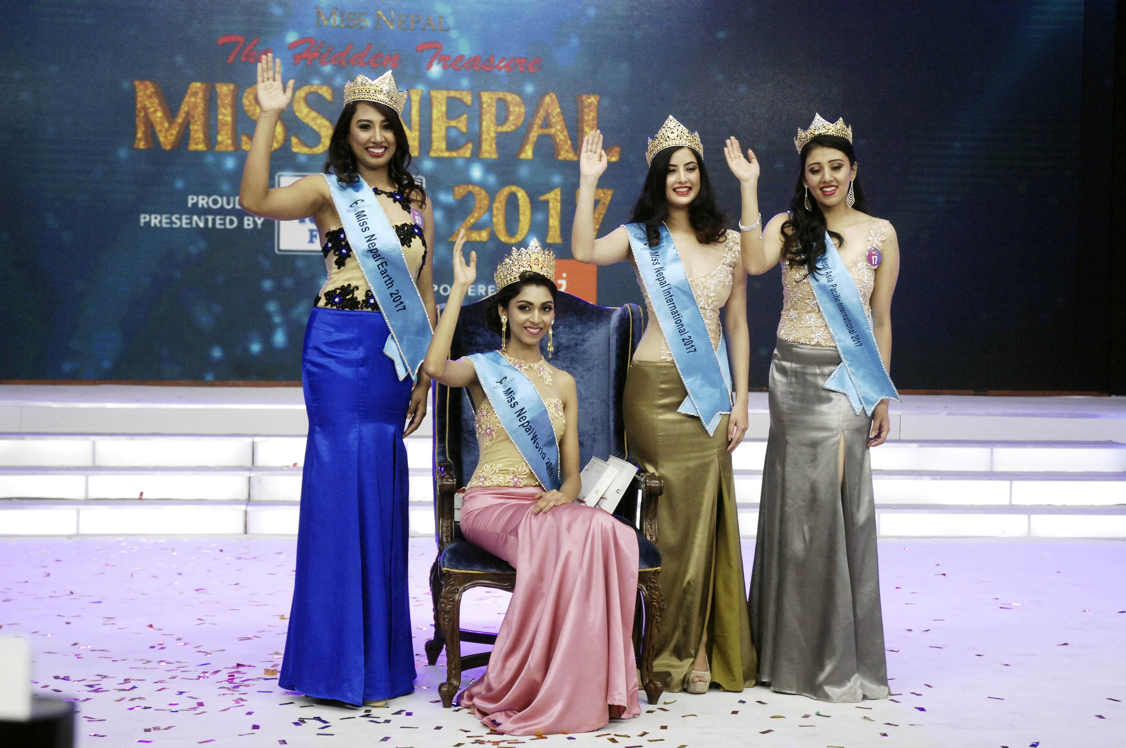 Nikita Chandak (on chair) wins Miss Nepal World 2017 crown, (from left) Rojina Shrestha wins Miss Nepal Earth,  Niti Shah wins Miss Nepal International while Sahara Basnet wins Miss Nepal Asia Pacific at an event held at Hotel Annapurna, Durbar Marg on Friday, June 2, 2017. Photo: Naresh Shrestha/THT