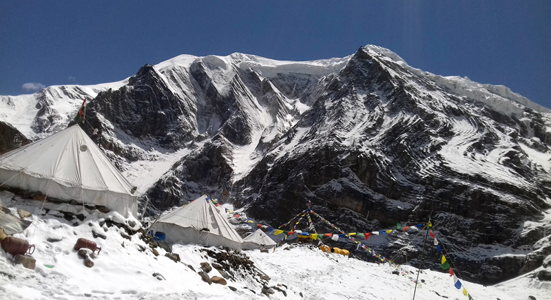 An serene view of Mt Dhaulagiri as seen from its base camp, on Monday, June 12, 2017. Photo: RSS