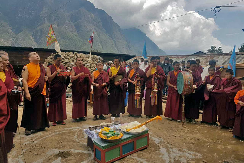 Lamas offering prayers during the foundation laying ceremony at a monastery in Solukhumbu, on Tuesday, June 20, 2017. Photo: Phurba Sherpa