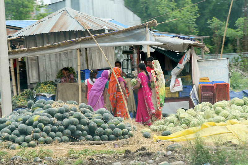 Customers are seen buying Musk Melon and Water Melon in Janakpur, on Friday, June 9, 2017. Photo: RSS