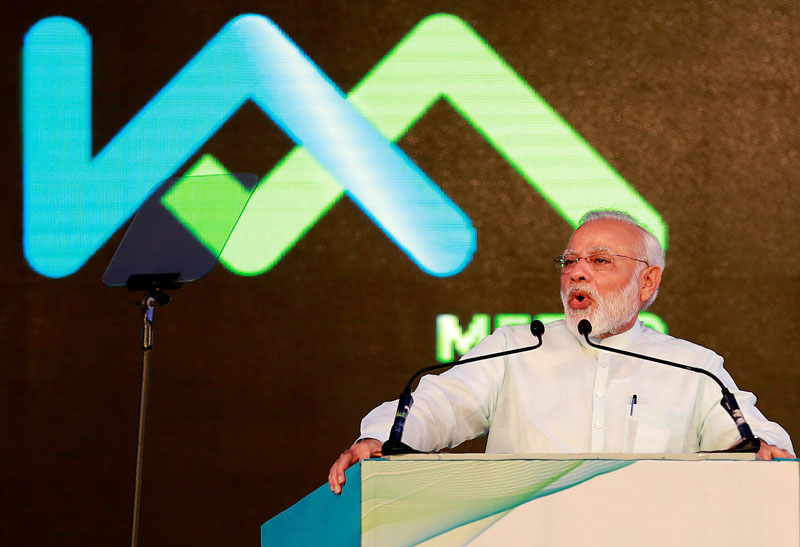 File - India's Prime Minister Narendra Modi addresses a gathering after he inaugurated Kochi Metro at a stadium in Kochi, India, on June 17, 2017. Photo: Reuters