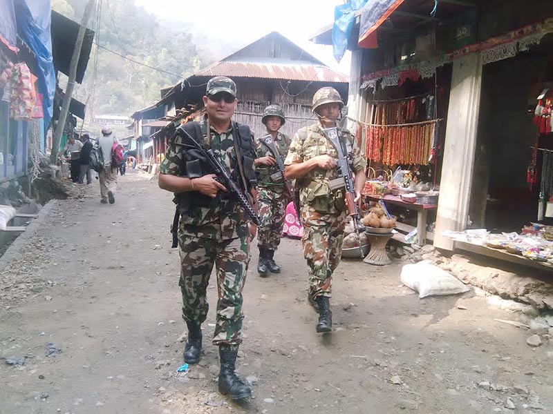 Nepal Army personnel patrolling a street in Barahachhetra, Sunsari, on Friday, June 2, 2017. Photo: THT