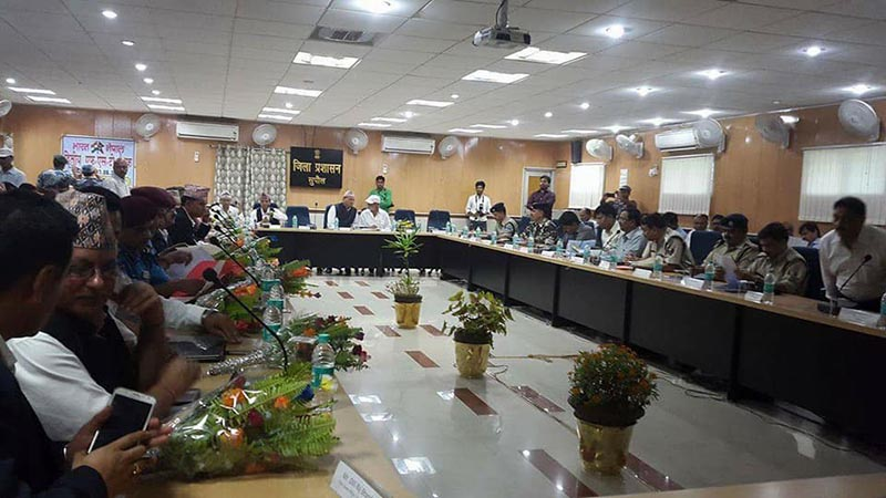 Administrators of Nepal and India holding a meeting on security for the upcoming civic polls, in Supaul, Bihar, on Thursday, June 8, 2017. Photo: THT