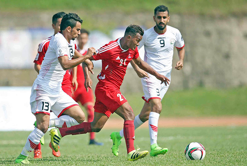 Nepal's Bharat Khawas makes a surging run forward against Yemen during AFC 2019 Asia Cup Qualifers at the APF Halchowk Stadium, in Kathmandu, on Tuesday, June 13, 2017. Photo: Udipt Singh Chhetry