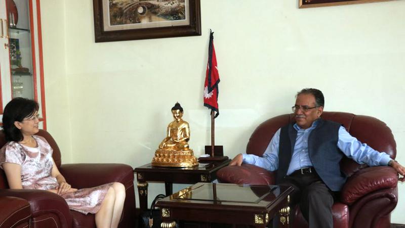 Former Prime Minister Pushpa Kaamal Dahal meets Ambassador of China to Nepal Yu Hong in Lazimpat, on Sunday, June 18, 2017. Photo: Dahal's Secretariat