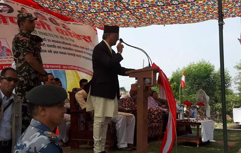 Prime Minister and Nepali Congress President Sher Bahadur Deuba addressing an election gathering at Dhangadhi on June 23, 2017. Photo Courtesy: Twitter