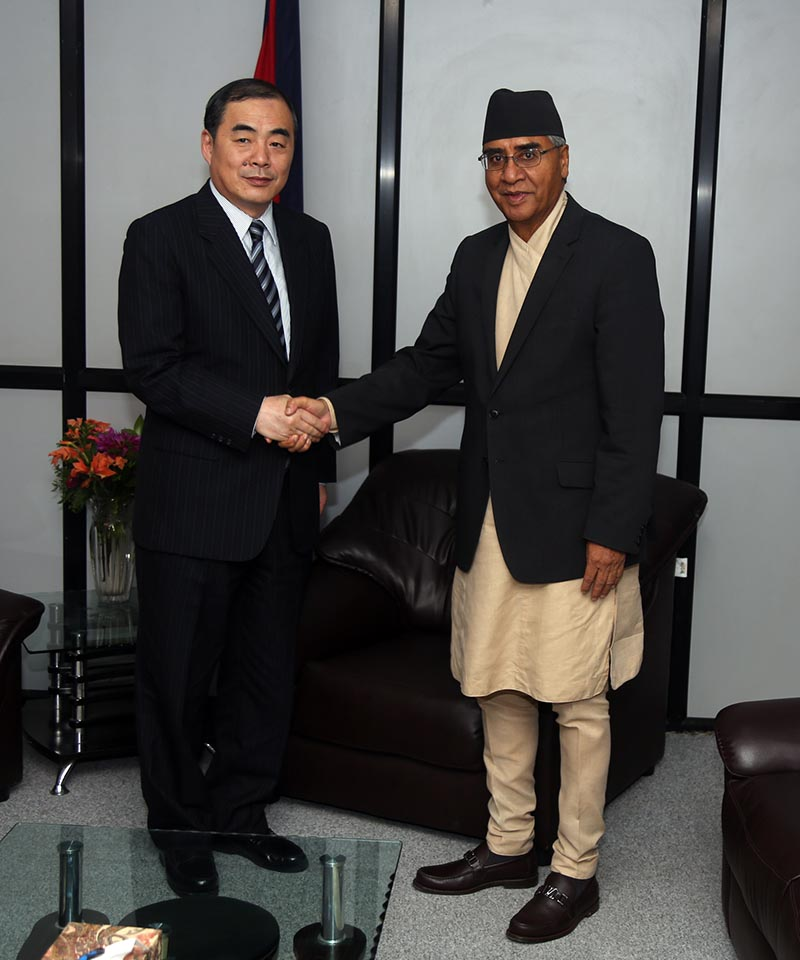 Prime Minister Sher Bahadur Deuba and Assistant Minister of Foreign Affairs of China Kong Xuanyou at the formeru2019s office at Singhadurbar on June 21, 2017. Photo: RSS