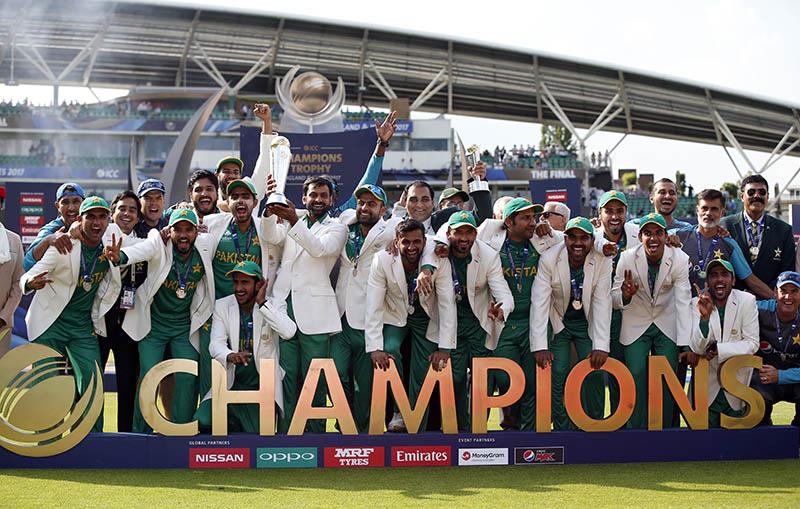 Pakistan celebrate winning the ICC Champions Trophy Final. Photo: Reuters