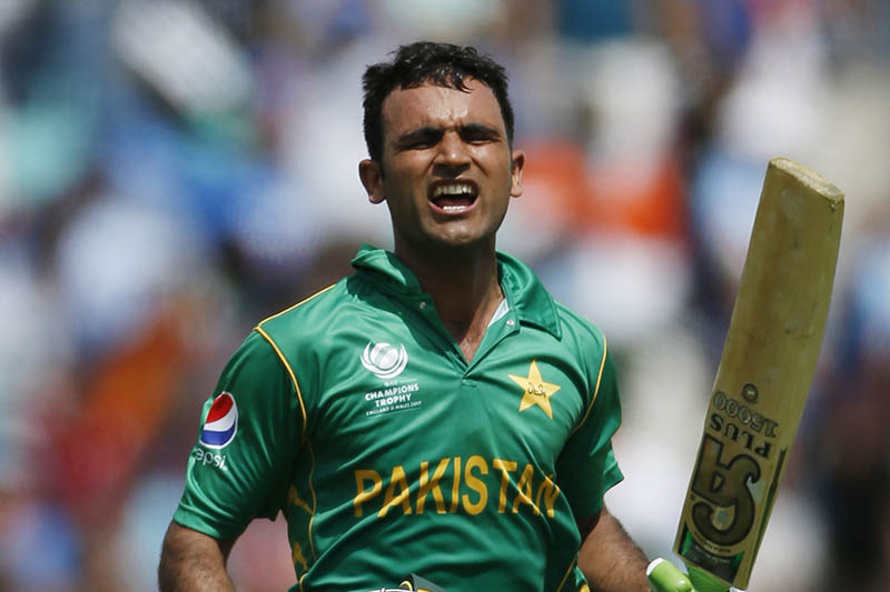 Fakhar Zaman celebrates his century. Photo: Reuters