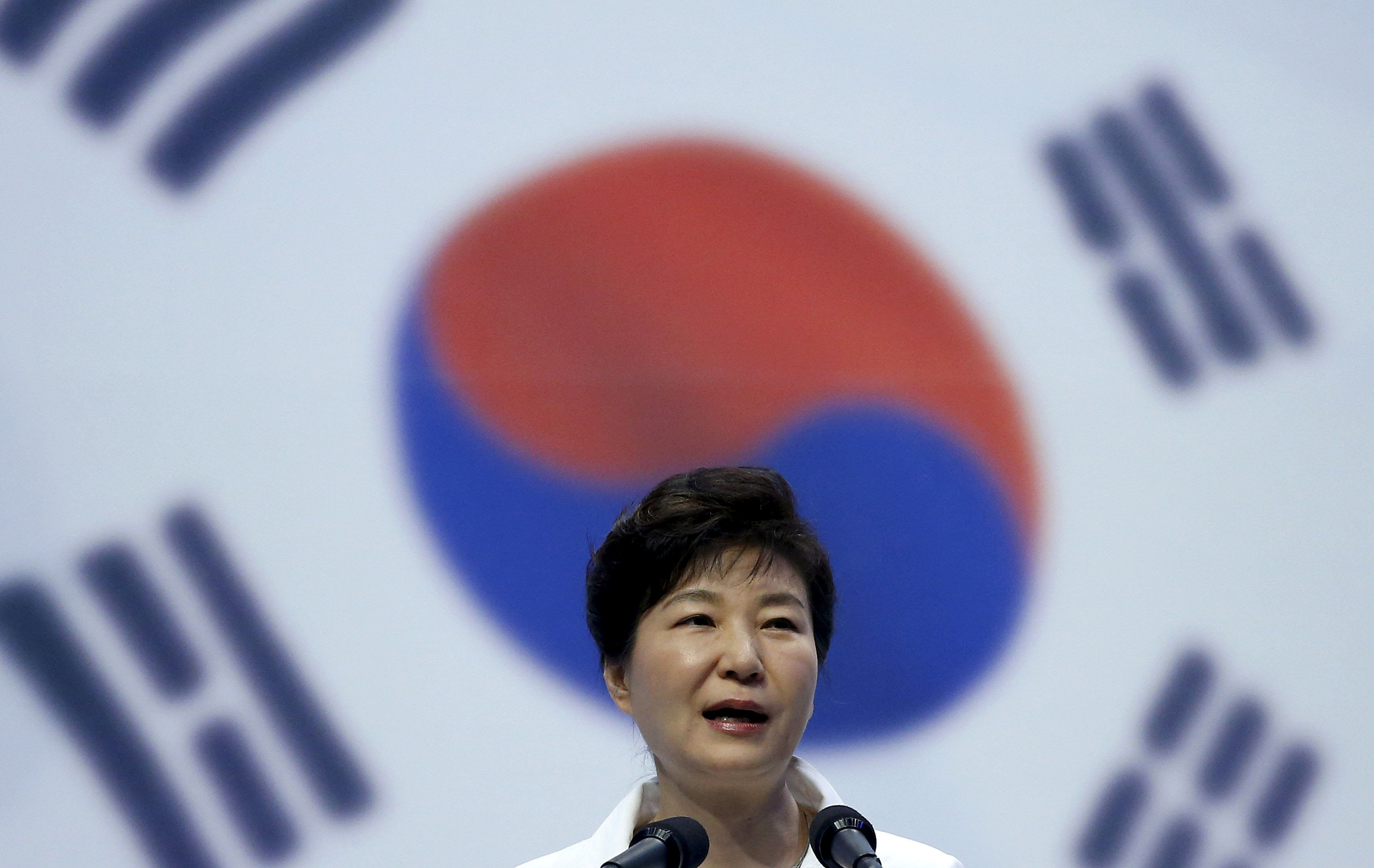 File - South Korean President Park Geun-hye speaks during a ceremony marking the 70th anniversary of the liberation from Japan's 1910-45 colonial rule, following the end of World War Two, on Liberation Day in Seoul, South Korea, on August 15, 2015. Photo: Reuters