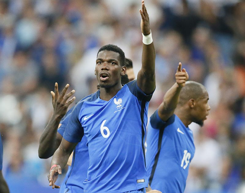 France's Paul Pogba reacts during a friendly soccer match between France and England at the Stade de France in Saint Denis, north of Paris, France, on Tuesday, June 13, 2017. Photo: AP