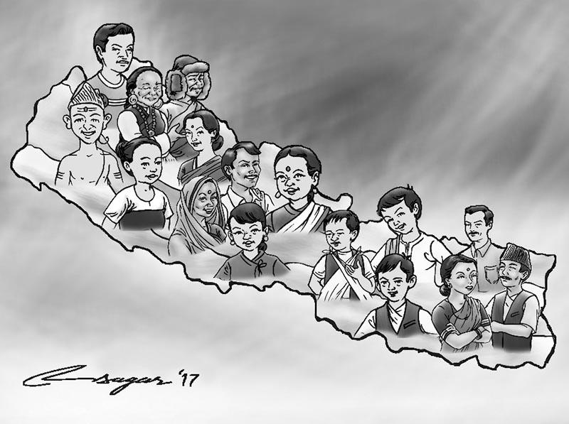 People of Nepal. Illustration: Ratna Sagar Shrestha/THT