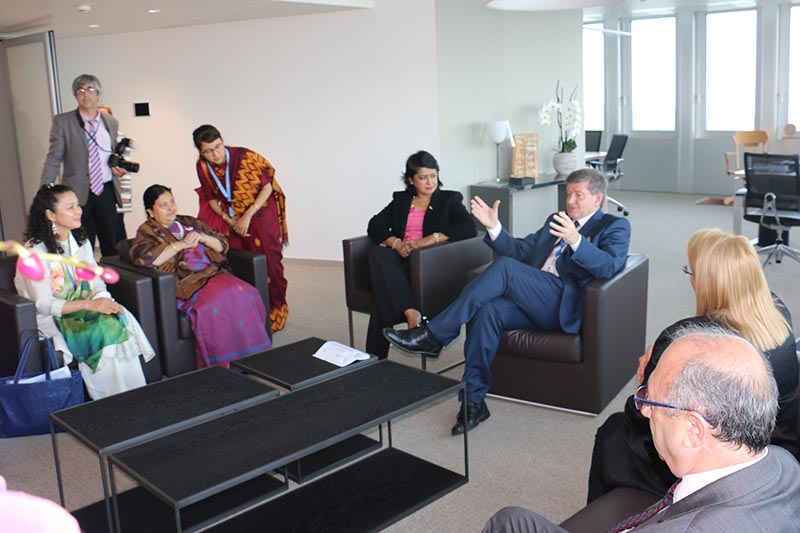 President Bidya Devi Bhandari meeting with International Labour Organization (ILO) Director General Guy Ryder(right), on the sidelines of the World of Work Summit held as part of the 106th Session of the International Labour Conference, in Geneva, Switzerland, on Thursday, June 15, 2017. Photo: THT