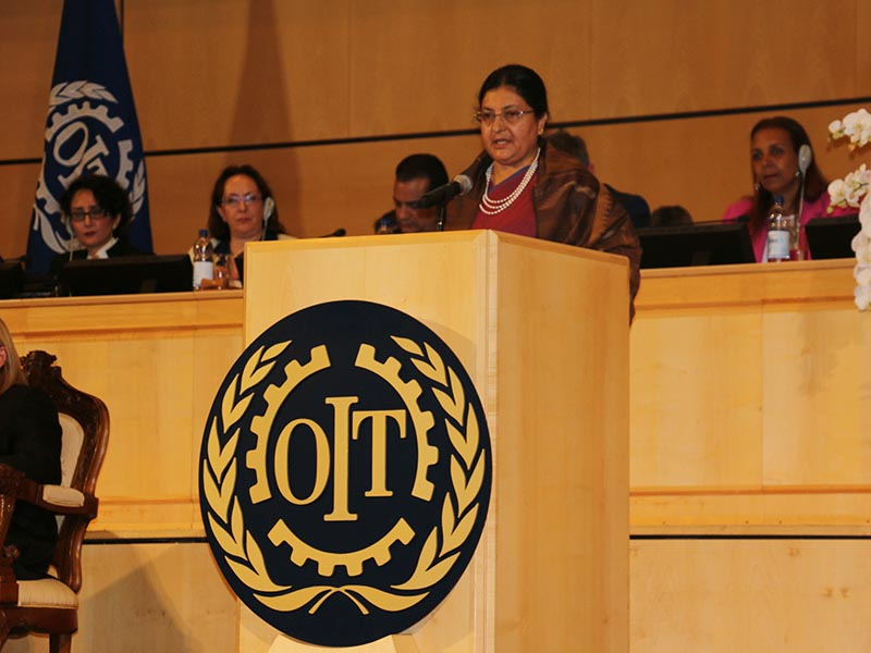 President Bidya Devi Bhandari addressing the World of Work Summit held as part of the 106th Session of the International Labour Conference here on Thursday, June 15, 2017. Photo: RSS