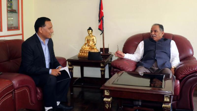 CPN Maoist Centre Chairman Pushpa Kamal Dahal meets Nepal Electricity Authority Managing Director Kul Man Ghising in Lazimpat, on Saturday, June 24, 2017. Photo: Dahal's Secretariat
