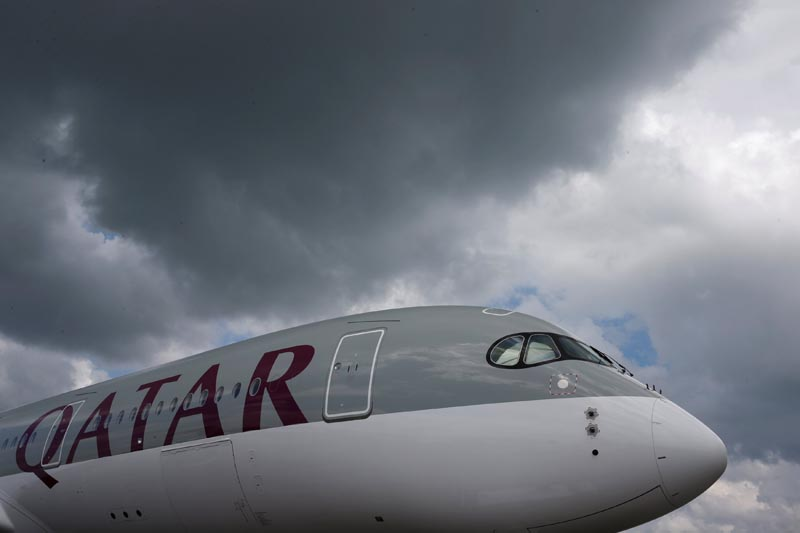 A Qatar Airways Airbus A350 XWB aircraft is displayed at the Singapore Airshow at Changi Exhibition Center, on February 18, 2016. Photo: Reuters
