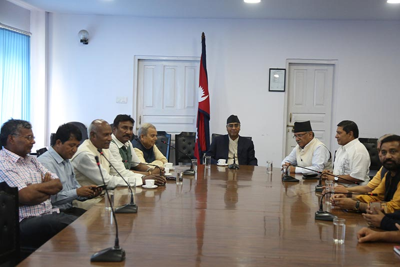 Prime Minister Sher Bahadur Deuba and the leaders of the ruling coalition and the Rastriya Janata Party Nepal at Singhdurbar on June 15, 2017.