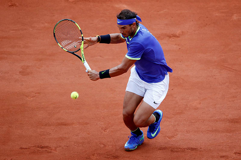 Spain's Rafael Nadal in action during his third round match against Georgia's Nikoloz Basilashvili. Photo: Reuters