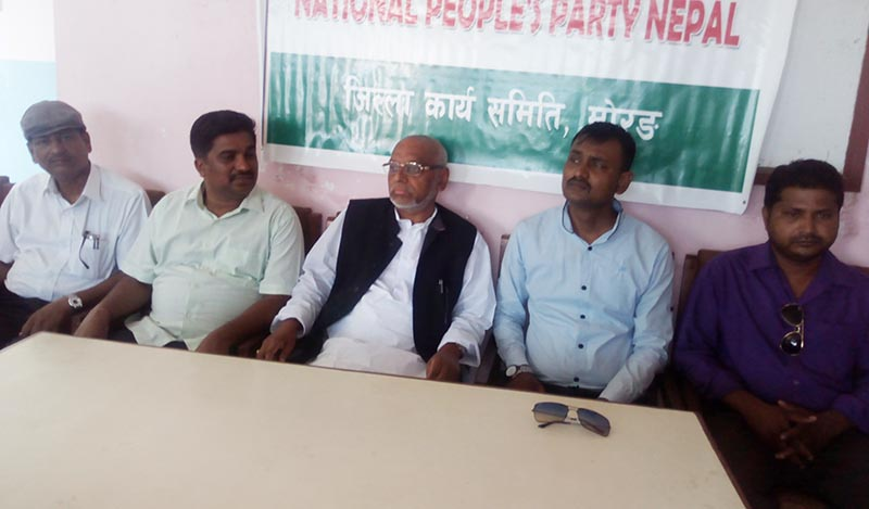 RJP-N presidium member Rajendra Mahato, among other leaders, at a press meet organised by RJP-N Morang, in Biratnagar, on Sunday, June 11, 2017. Photo: THT