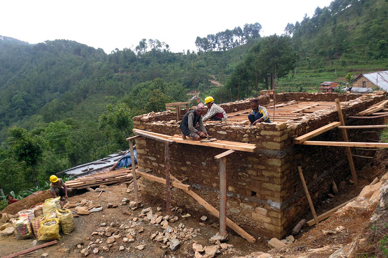Villagers build their own house at Bhumlu Rural Municipality in Kavre district, on Sunday, June 11, 2017. Photo: RSS
