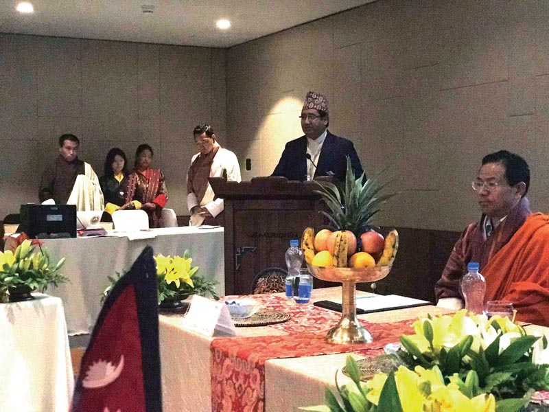 SAOC and NOC President Jeevan Ram Shrestha (centre) speaks during a meeting in Thimpu on Tuesday. Photo Courtesy: NOC