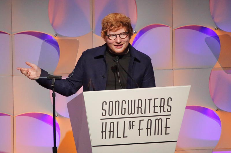 2017 Honoree Ed Sheeran accepts his award at The Songwriters Hall of Fame 48th Induction and Awards Gala at the New York Marriott Marquis Hotel in Manhattan, New York, US, on June 15, 2017. Photo: Reuters