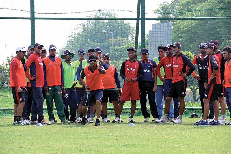 Nepal U-19 cricket team members taking part in a training session in Noida, India on Sunday. The Nepali team is preparing for ICC U-19 World Cup Qualifiers for Asia Region slated for nJuly 16-26 in Singapore. Photo Courtesy: Raman Shiwakoti