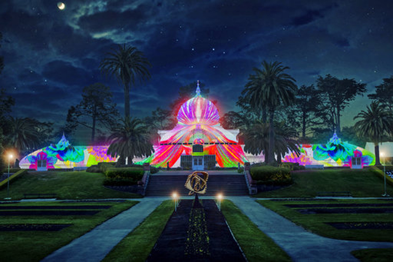 This artist's rendering, released by the San Francisco Recreation and Parks Department, is what the Conservatory of Flowers in Golden Gate Park will look like when it is illuminated with psychedelic lighting in tribute to the 50th anniversary of the Summer of Love. Photo: AP