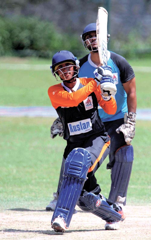 Sandeep Sunar of Nepal APF Club bats against Mid-western Region during their first Prime Minister Cup One-day Menu0092s National Cricket Tournament match in Kathmandu, on Friday. Photo: Udipt Singh Chhetry/ THT