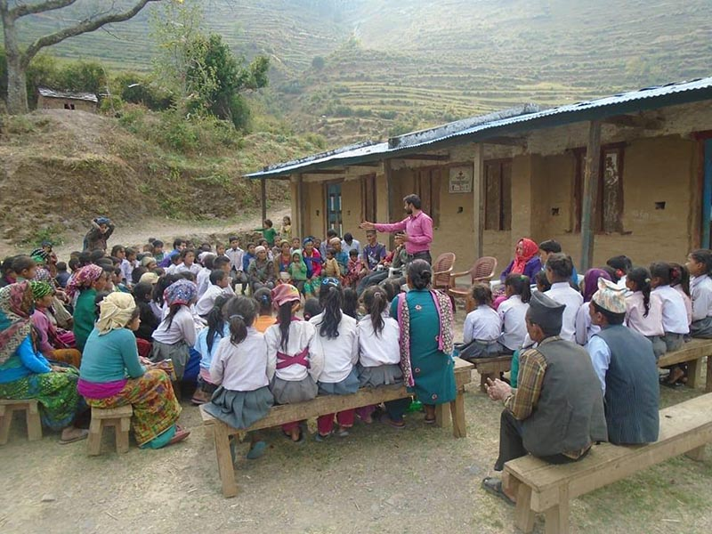 Locals participating in an awareness programme on sanitation in Gotamkot, Rukum, on Friday, June 9, 2017. Photo: THt.