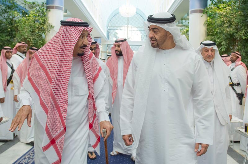 In this Friday, June 2, 2017 photo released by Saudi Press Agency, SPA, Saudi King Salman bin Abdulaziz Al Saud, left, talks to Sheikh Mohammed bin Zayed Al Nahyan, Abu Dhabi's Crown Prince and Deputy Commander in Chief of the Emirates Armed Forces in Jiddah, Saudi Arabia. Four Arab nations cut diplomatic ties to Qatar early Monday morning, June 5,  further deepening a rift among Gulf Arab nations over that country's support for Islamist groups and its relations with Iran. Photo: Saudi Press Agency via AP